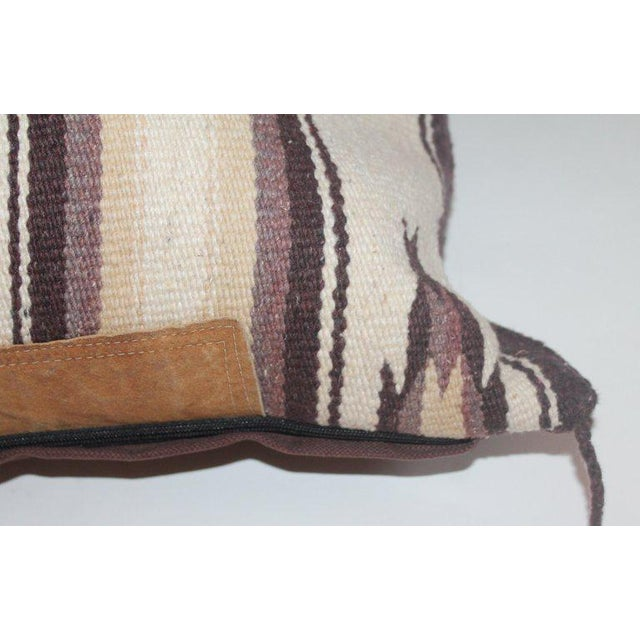 Tan Navajo Indian Weaving Saddle Blanket Pillow With Leather Trim For Sale - Image 8 of 9