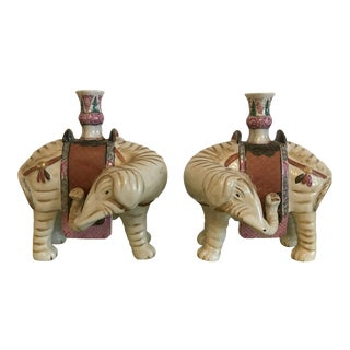 Mottahedeh Elephant Candleholders - a Pair For Sale