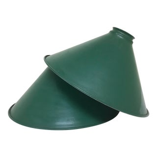 Mid-Century Industrial Dark Green Enamel Pendant Shades - Set of 2 For Sale