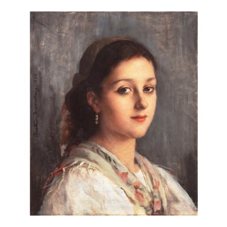'Young Parisienne With a Scarf and Gold Earring' by Christine Sundberg, 1888; Woman Artist, Louvre, Royal Academy For Sale