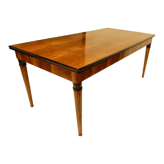 1940's French Veneered Walnut Dining Table For Sale