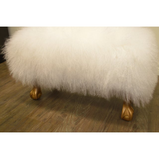 Ottoman Upholstered in a Curly White Lambs Wool Skin With Gilded Legs For Sale In Buffalo - Image 6 of 10