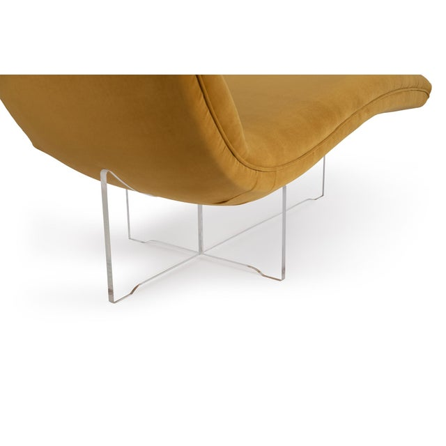 """Vladimir Kagan Vladimir Kagan """"Erica"""" Chaise in Yellow With Lucite Base For Sale - Image 4 of 7"""