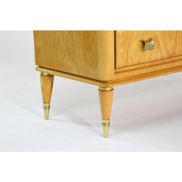 Brown Mid 20th Century Italian Mid-Century Maple Wood Nightstands - a Pair For Sale - Image 8 of 13