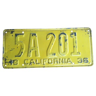 1936 California License Plate For Sale