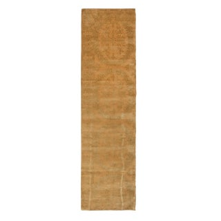 18th Century Catana Inspired Geometric Beige and Green Wool-Silk Rug - 2′8″ × 10′ For Sale
