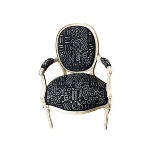 Old French Chair W/Black & White Mud Cloth Preview
