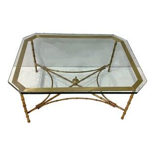 Hollywood Regency Era French Maison Bagues Faux Bamboo Bronze Coffee Table For Sale