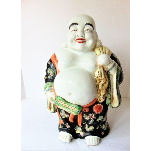 Ceramic Vintage Chinese Porcelain Buddha Figurine For Sale - Image 7 of 7