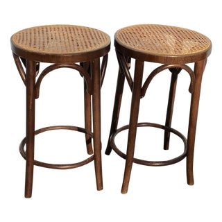 Bentwood and Cane Stools - A Pair
