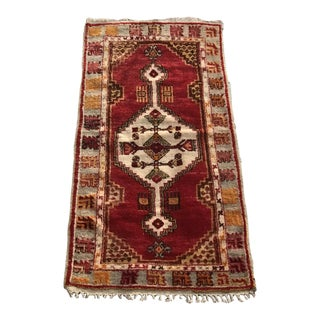 "Hand Made Vintage Tribal Turkish Runner Area Rug With Tulips 2'9""x4'11"" For Sale"