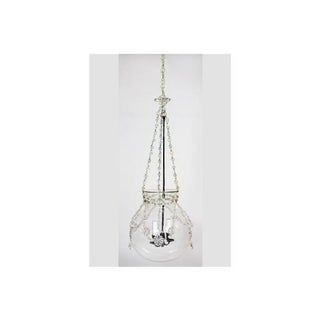 Antique Genovese Crystal Bell Jar Hanging Lantern With Crystal Floral Detail Preview