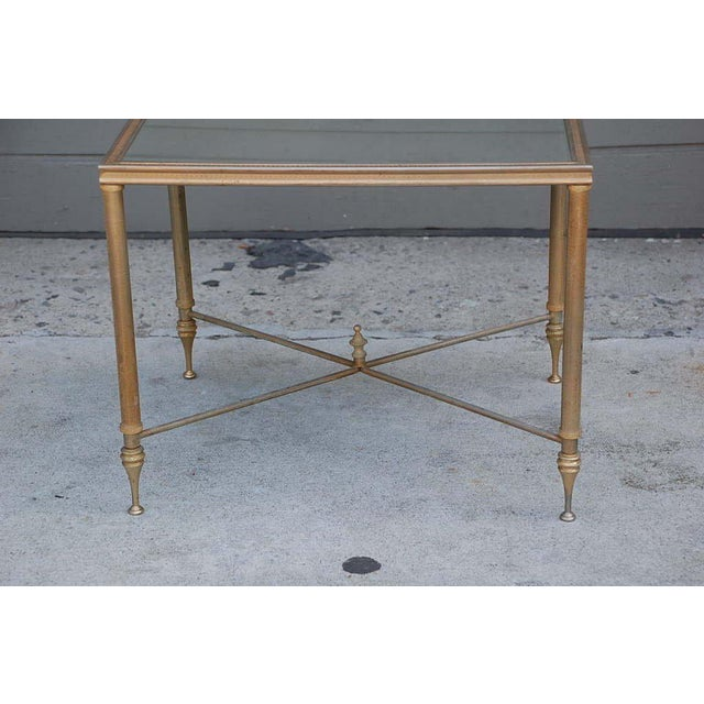 Mid-Century Modern Elegant Gold Side Table With Antique Mirrored Glass For Sale - Image 3 of 7