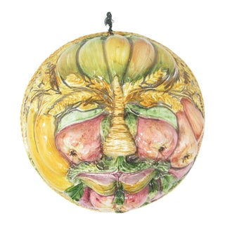 Vintage Italian Pottery Fruit Vegetables Face Mold by Abc Bassano for Haldon Group For Sale