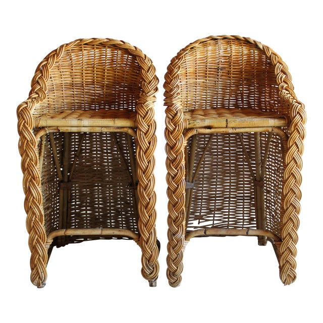 Vintage French Woven Rattan Bar Stools - a Pair For Sale