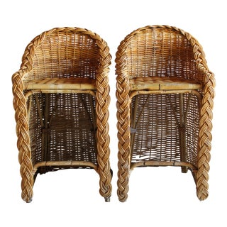 Vintage French Woven Rattan Bar Stools Franco Albini Gabriella Crespi Style - a Pair For Sale