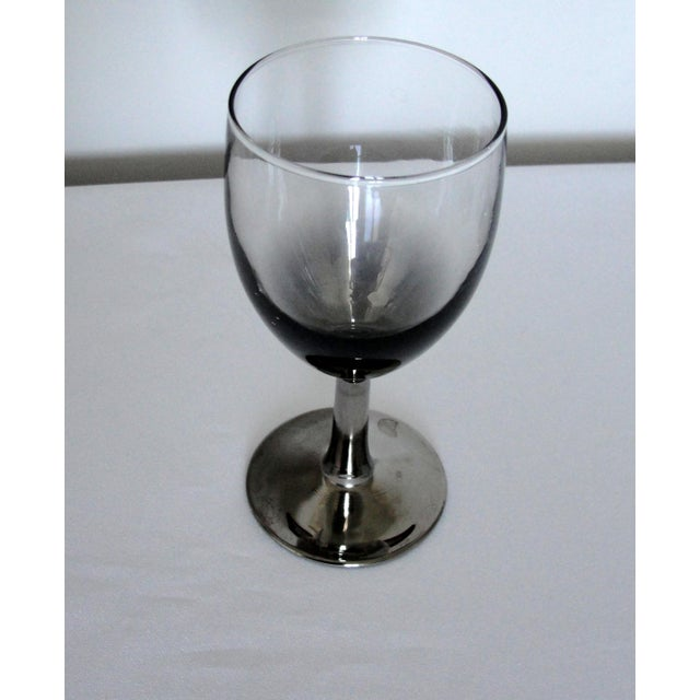 Vintage Petite Wine Glasses Marked France Silver Gray Stems - 4 For Sale In Orlando - Image 6 of 11