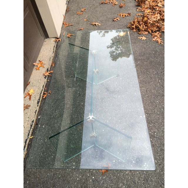 Pace Pace glass coffee table with brass brackets For Sale - Image 4 of 5