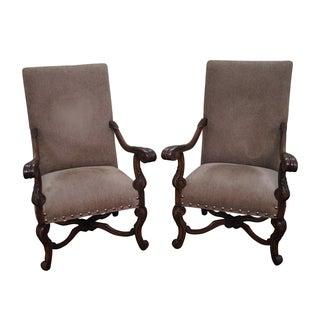 Walnut Renaissance Style Throne Arm Chairs - Pair