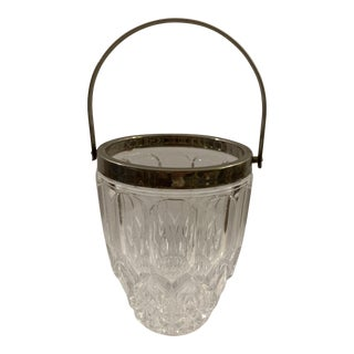 Vintage Crystal Ice Bucket With Silver Colored Metal Rim and Handle For Sale