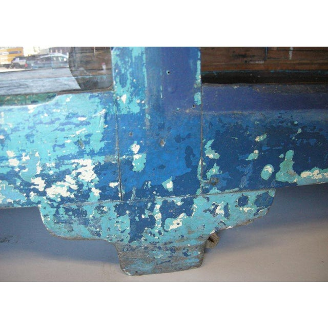 Antique Painted Blue Shop Counter With Glass Front For Merchandise Display For Sale - Image 9 of 11