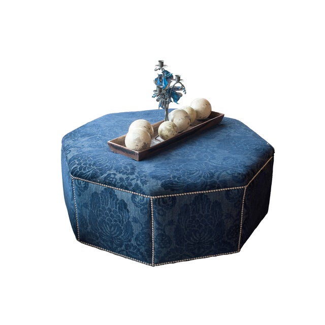 Dark Blue Octagon Floral Ottoman with Nailheads - Image 2 of 5