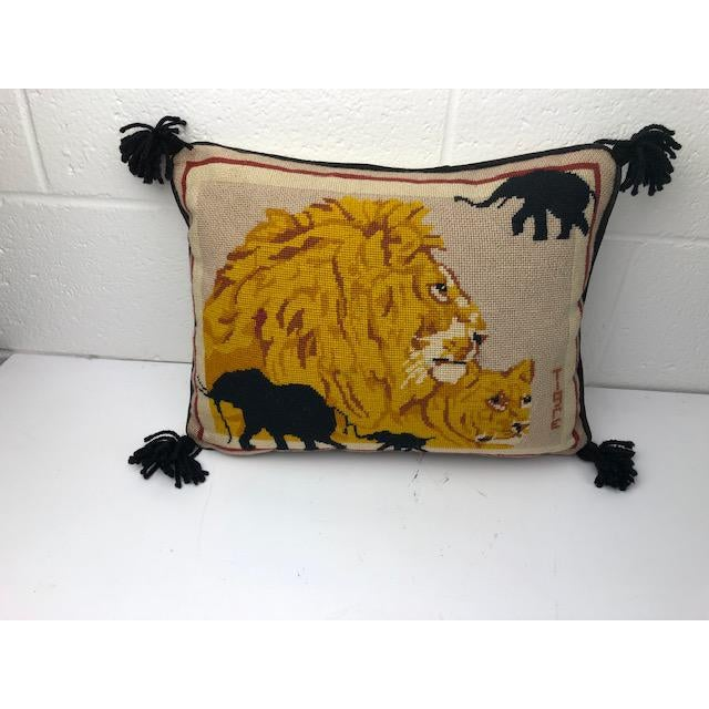 1970s Vintage Needlepoint Lion Pillow For Sale - Image 4 of 4
