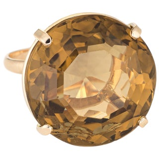 Vintage Smoky Quartz Ring 14 Karat Gold Cocktail Ring Estate Pinky Jewelry For Sale