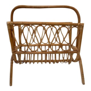 1970s Vintage Bamboo Rattan Magazine Holder For Sale