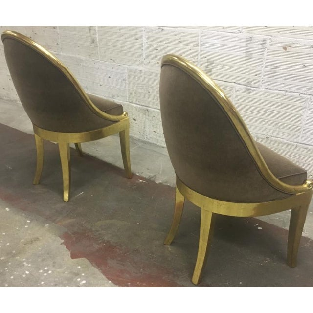 Gold Leaf Maurice Dufrene Refined Empire Inspired Gold Leaf Wood Pair of Side Chairs For Sale - Image 7 of 8