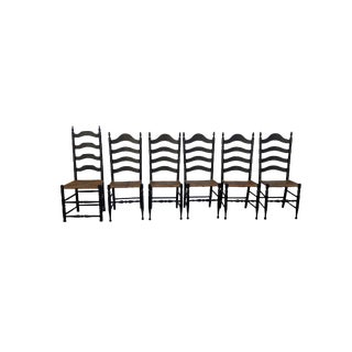 Vintage Farmhouse Colonial American Rush Seat Ladder Back Chairs - Set of 6