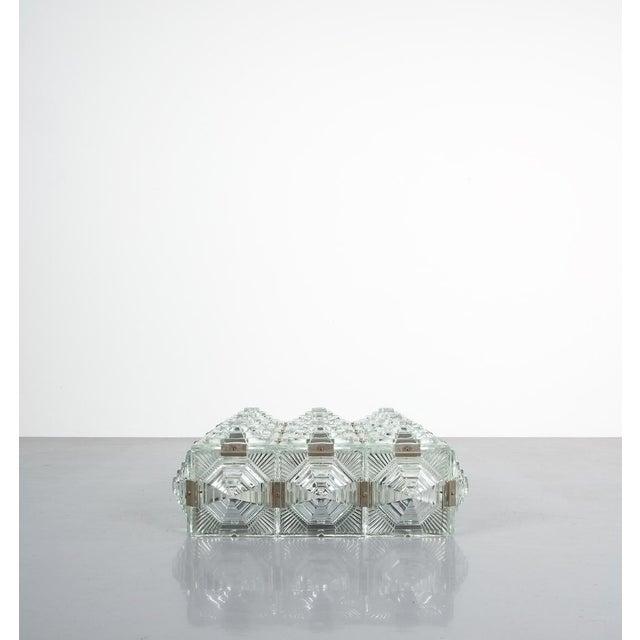 1960s 1 of 7 Kamenicky Senov Bohemian Glass Flush Mount Ceiling Lamp, Czechia For Sale - Image 5 of 13