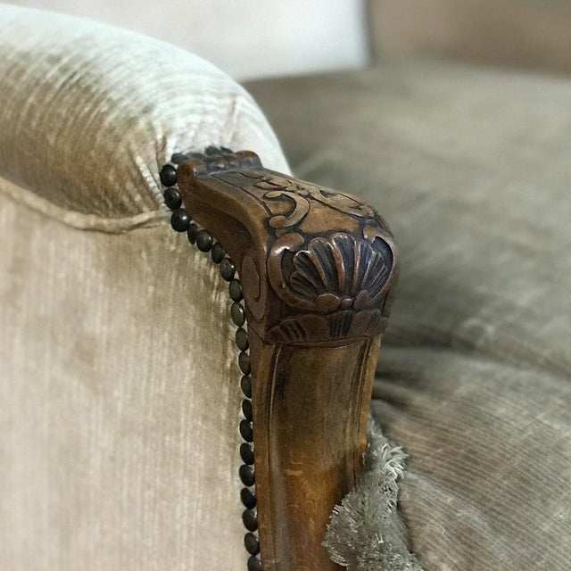 Mid 20th Century Antique French Walnut Louis XV Wingback Armchair For Sale - Image 5 of 13