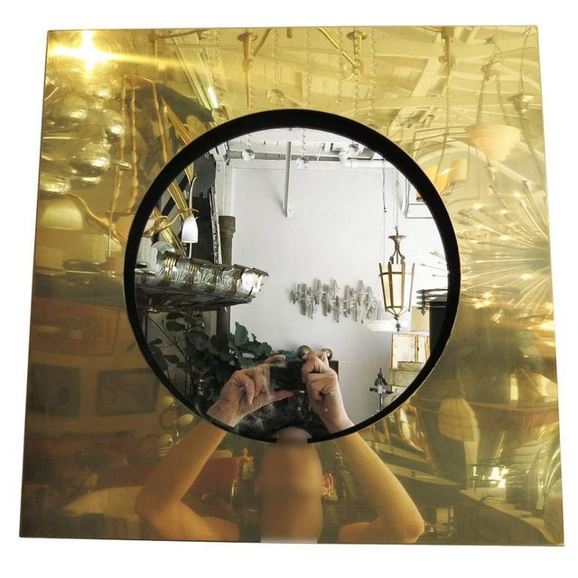 High-End Polished Brass Square Port Hole Mirror by Curtis Jere | DECASO