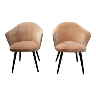 Italian Modern Blush Velvet Chairs - A Pair