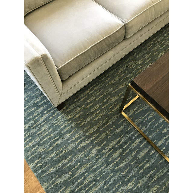Hand Knotted Teal Contemporary Wool Rug - 9′10″ × 12′ - Image 3 of 5