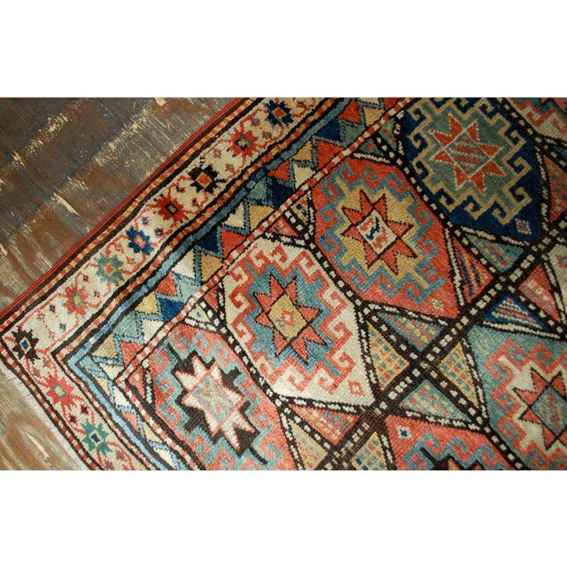 1880s Antique Hand Made Caucasian Kazak Mohan Rug- 3′10″ × 7′9″ For Sale In New York - Image 6 of 10