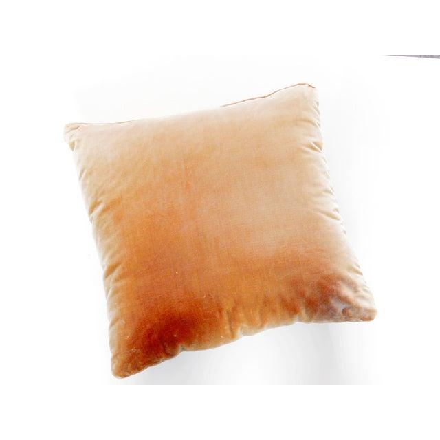 Mexican Camel Color Velvet Back Botanical Pillow For Sale - Image 3 of 6