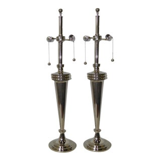Pair of Art Deco Nickel Chrome Mutual Sunset Table Lamps For Sale