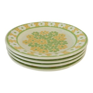 "Vintage Franciscan Summer Daisy Yellow/Green Pattern 10.75"" Dia Set-4 Dinner Plates Excellent For Sale"