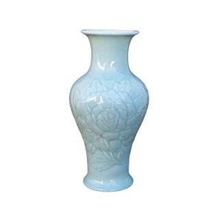 Chinese Long Quan Kiln Celadon Color Peony Flower Carving Porcelain Vase For Sale