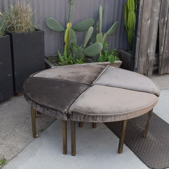 Dunbar Furniture Mid-Century Modern Round Bench Stool Pizza Shape in Bronze and Velvet For Sale - Image 4 of 11