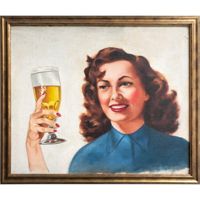 Blue Mid Century Illustrator Oil/Canvas of a Woman With Beer For Sale - Image 8 of 8