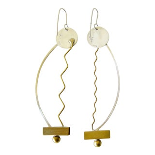 Heidi Abrahamson Sterling Brass Squiggle Earrings For Sale