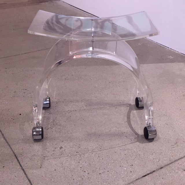 Vintage Lucite Stool on Chrome Plated Wheels - Image 3 of 9