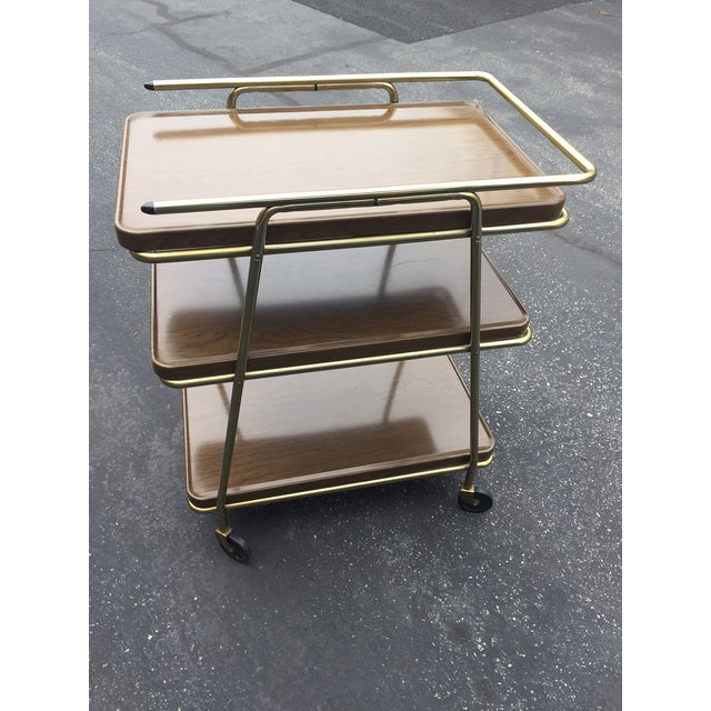 Mid-Century Atomic Age Three-Tiered Bar Cart - Image 7 of 9