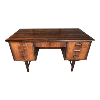 Mid Century Danish Modern Rosewood Floating Top Double Bank Executive Tanker Writing Desk by Johannes Andersen