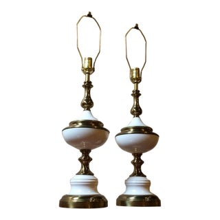 1950s Mid-Century Modern Stiffel Enamel + Brass Table Lamps - a Pair For Sale