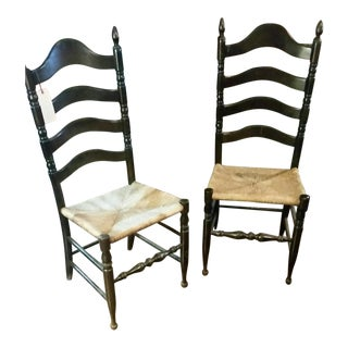 Vintage 4 Slat Ladderback Chairs With Woven Seats - a Pair For Sale