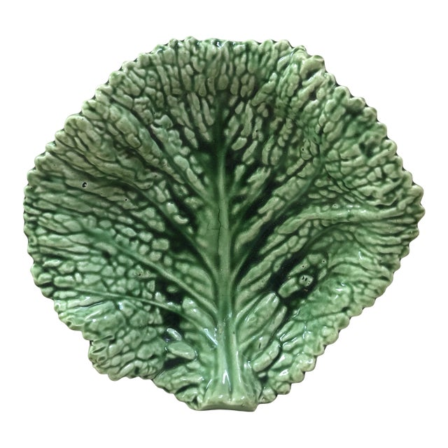 Majolica Green Cabbage Leaf Platter Sarreguemines, Circa 1930 For Sale